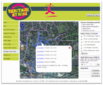 Screenshot of the Lincolnshire Heritage @ Risk website