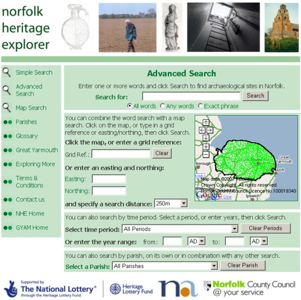 Advanced Search page (Norfolk Heritage Explorer)