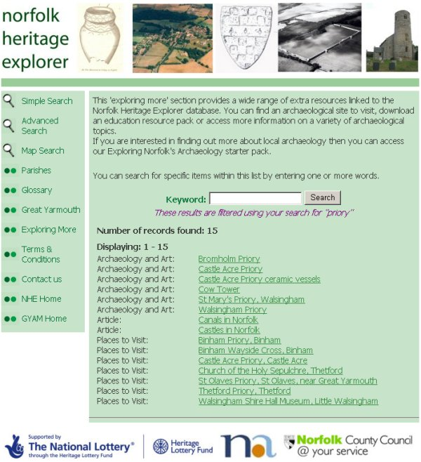 'Exploring More' themes page (Norfolk Heritage Explorer)