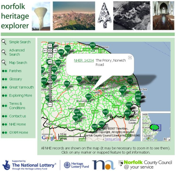 Multiple search results on map (Norfolk Heritage Explorer)
