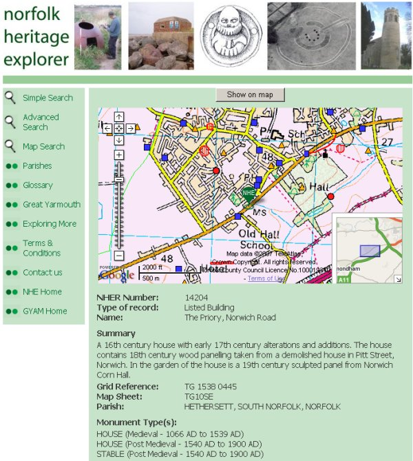 Single record details with map (Norfolk Heritage Explorer)
