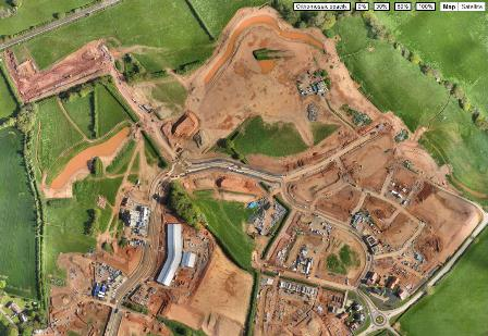 Construction site at Cranbrook New Town, Exeter surveyed by exeGesIS SDM