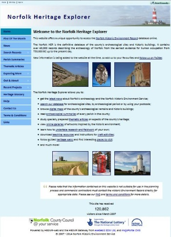Norfolk Heritage Explorer home page