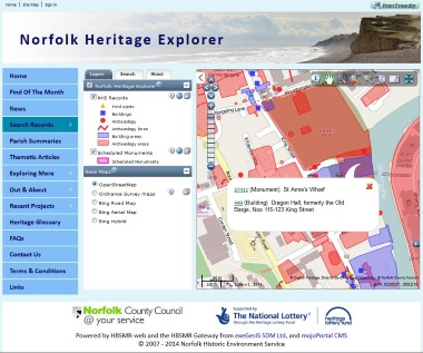 Norfolk Heritage Explorer map search