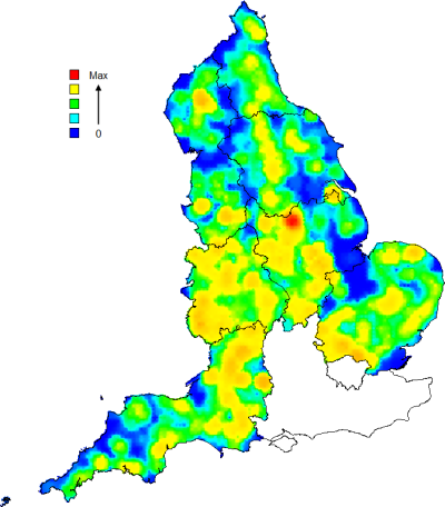 Wood-pasture and Parkland hotspot map, generated for Natural England