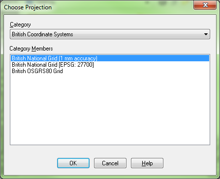 The MapInfo Choose Projection dialogue, altered so that the British National Grid projection defaults to 1 mm accuracy