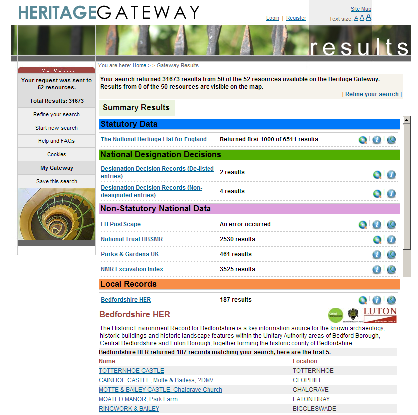 Heritage gateway screen shot