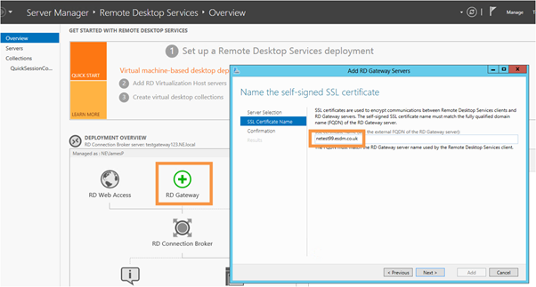 Server 2012 setting up remote gateway, remote desktop and RemoteApp