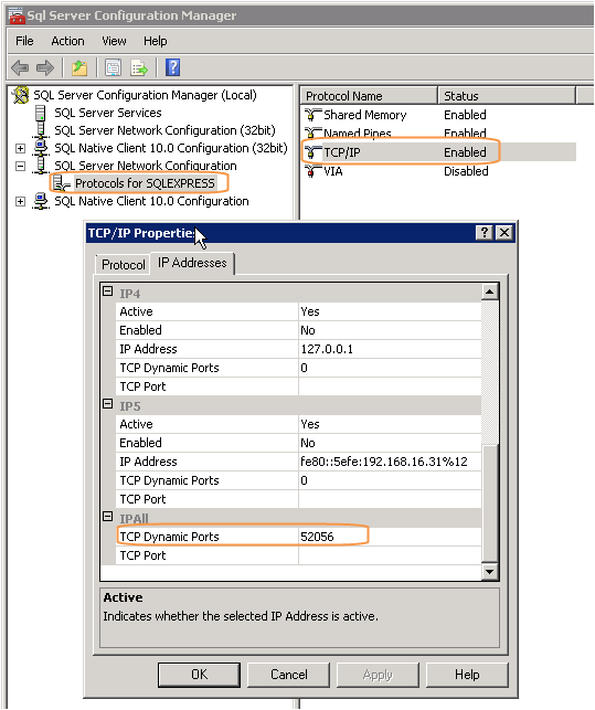 Remote connection to SQL server on dynamic ports - exeGesIS