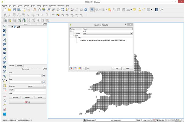 QGIS showing our test WMS of UK map grid squares