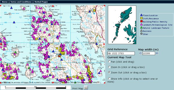 Map Search page of the Hebridean Connections website